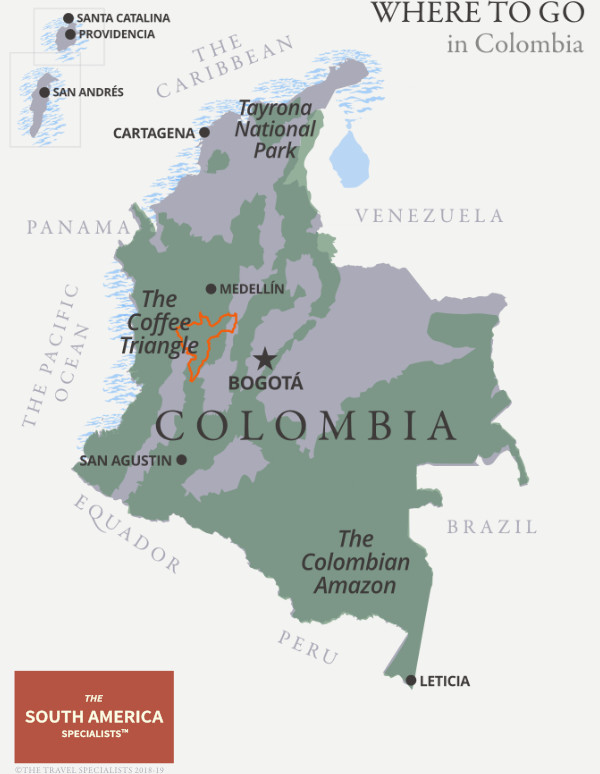 Where to go in Colombia map